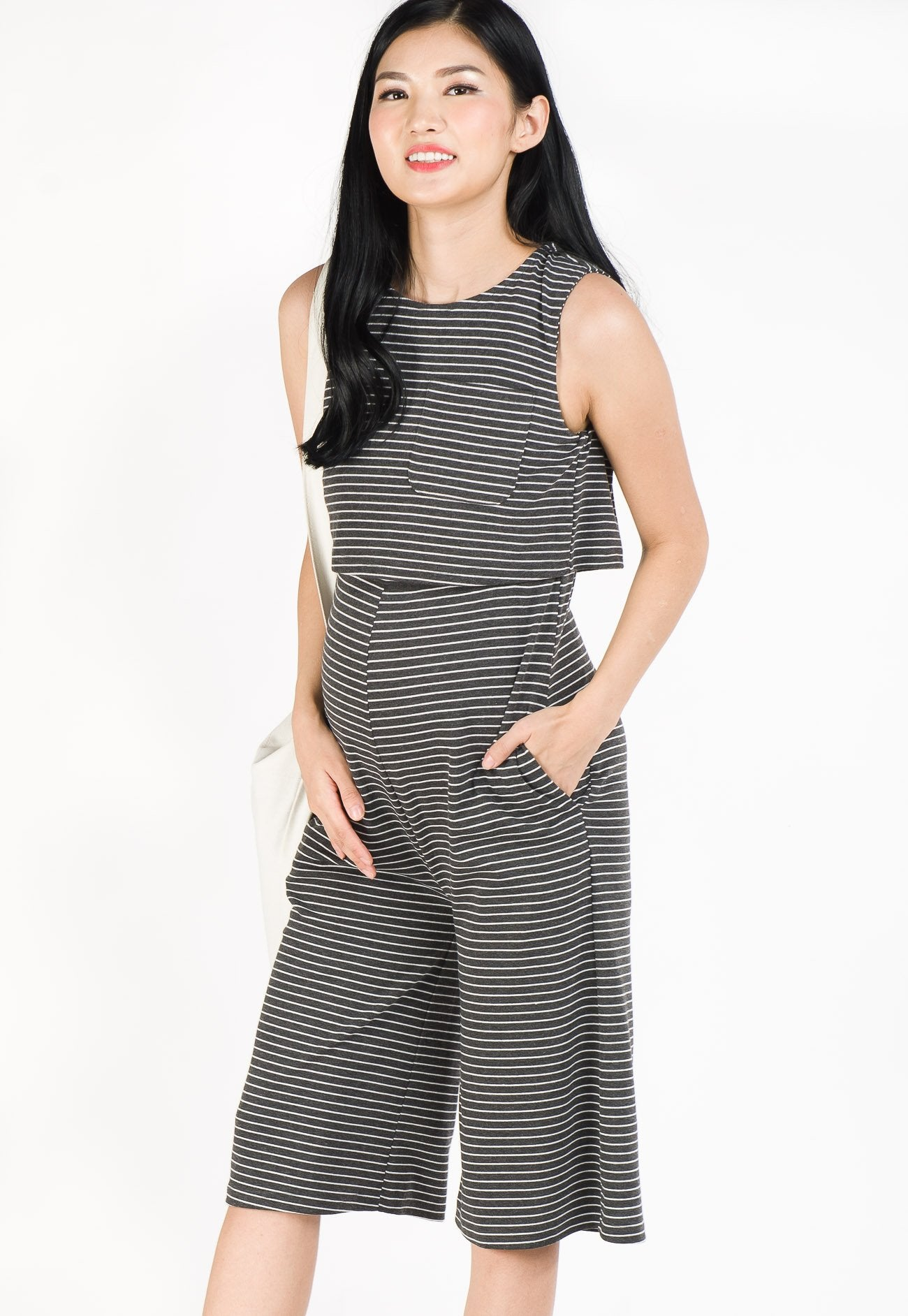 Taffy Striped Nursing Jumpsuit in Dark Grey  by Jump Eat Cry - Maternity and nursing wear
