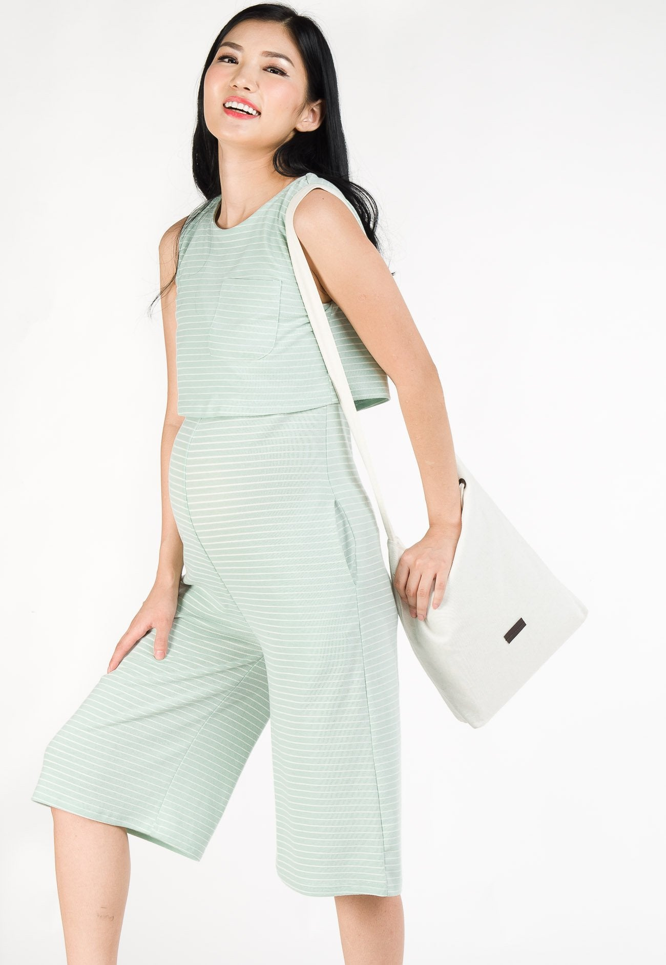 Taffy Striped Nursing Jumpsuit in Light Turquoise  by Jump Eat Cry - Maternity and nursing wear