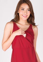 Tara Mermaid Nursing Dress in Red  by Jump Eat Cry - Maternity and nursing wear