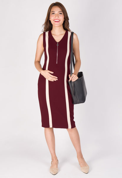 Urban Bodycon Nursing Dress in Maroon