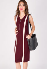 Urban Bodycon Nursing Dress in Maroon  by Jump Eat Cry - Maternity and nursing wear
