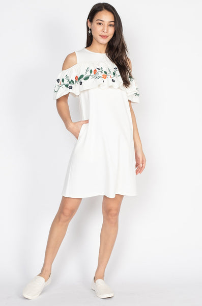 Valerie Embroidered Off Shoulder Nursing Dress