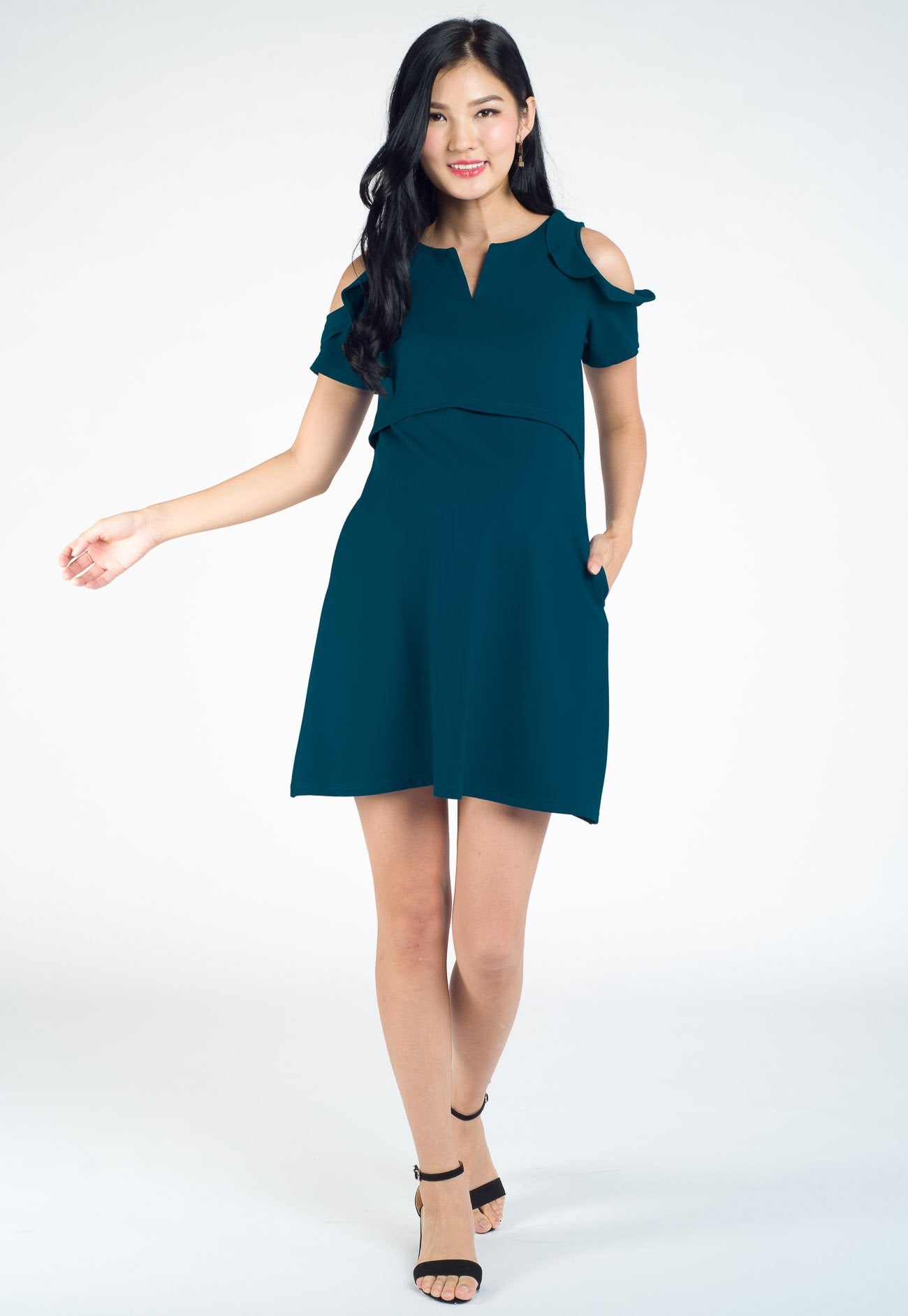 Valisa Flaired Sleeve Nursing Dress in Blue Green  by Jump Eat Cry - Maternity and nursing wear