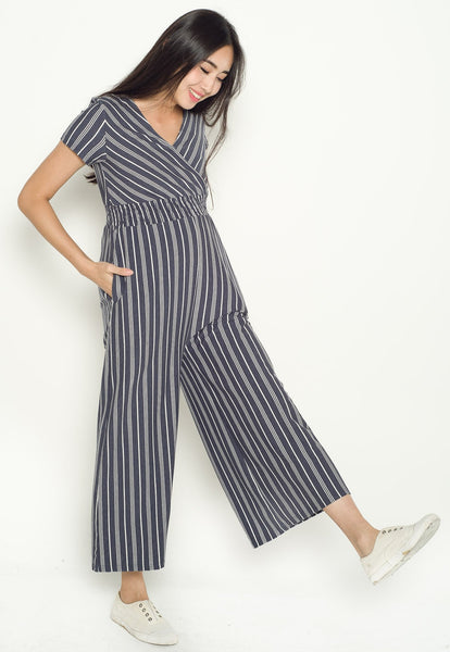 Vania Striped Nursing Jumpsuit in Jeans Blue