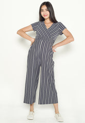 Vania Striped Nursing Jumpsuit in Jeans Blue  by Jump Eat Cry - Maternity and nursing wear
