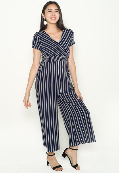 Vania Striped Nursing Jumpsuit in Navy