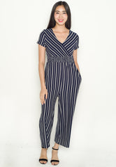 Vania Striped Nursing Jumpsuit in Navy  by Jump Eat Cry - Maternity and nursing wear