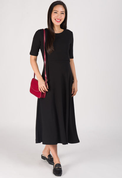 Victoria Knit and Flared Nursing Dress in Black
