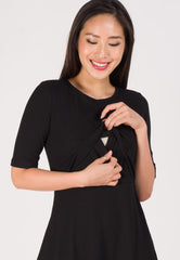 Victoria Knit and Flared Nursing Dress in Black Nursing Wear Mothercot