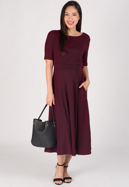 Victoria Knit and Flared Nursing Dress in Maroon