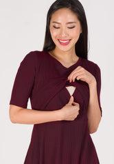 Victoria Knit and Flared Nursing Dress in Maroon  by Jump Eat Cry - Maternity and nursing wear