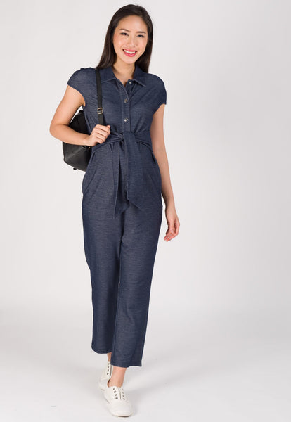 Waist Knot Nursing Jumpsuit in Dark Blue