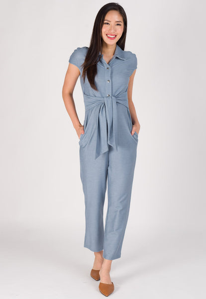 Waist Knot Nursing Jumpsuit in Light Blue