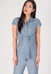 Waist Knot Nursing Jumpsuit in Light Blue  by Jump Eat Cry - Maternity and nursing wear