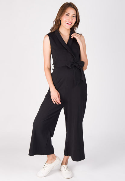 Wide Leg Lapel Collar Nursing Jumpsuit in Black