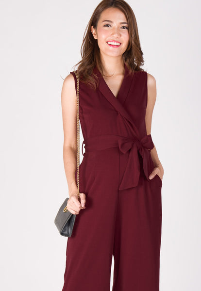 Wide Leg Lapel Collar Nursing Jumpsuit in Red