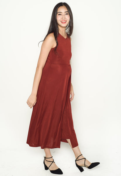 Zandra Overlayed Nursing Jumpsuit in Burnt Red