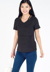 Zoey Slit Neckline Nursing Shirt in Black  by Jump Eat Cry - Maternity and nursing wear