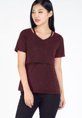 Zoey Slit Neckline Nursing Shirt in Maroon  by Jump Eat Cry - Maternity and nursing wear