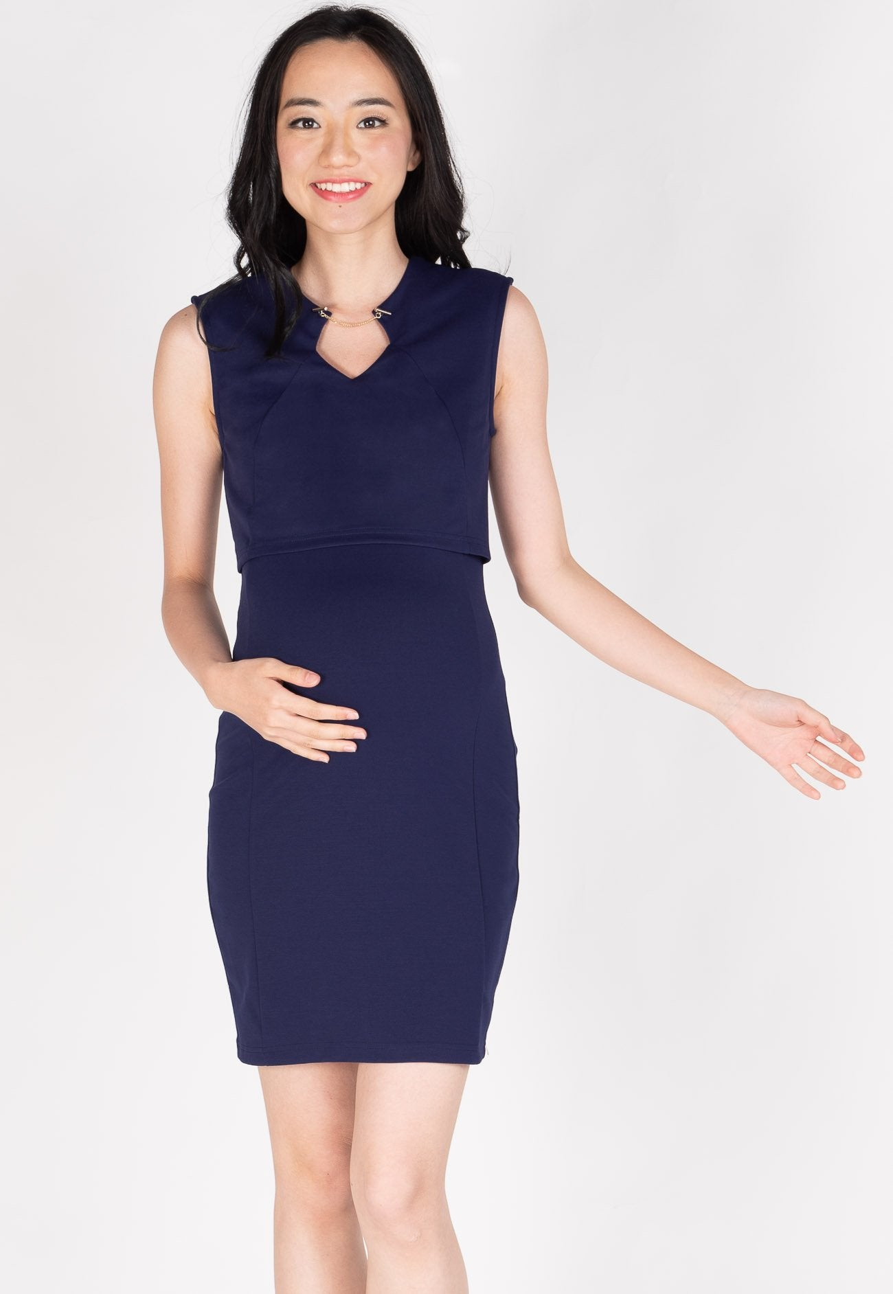 f5db1ceaf6e89 ... Belva Chain Nursing Dress in Navy by Jump Eat Cry - Maternity and nursing  wear ...