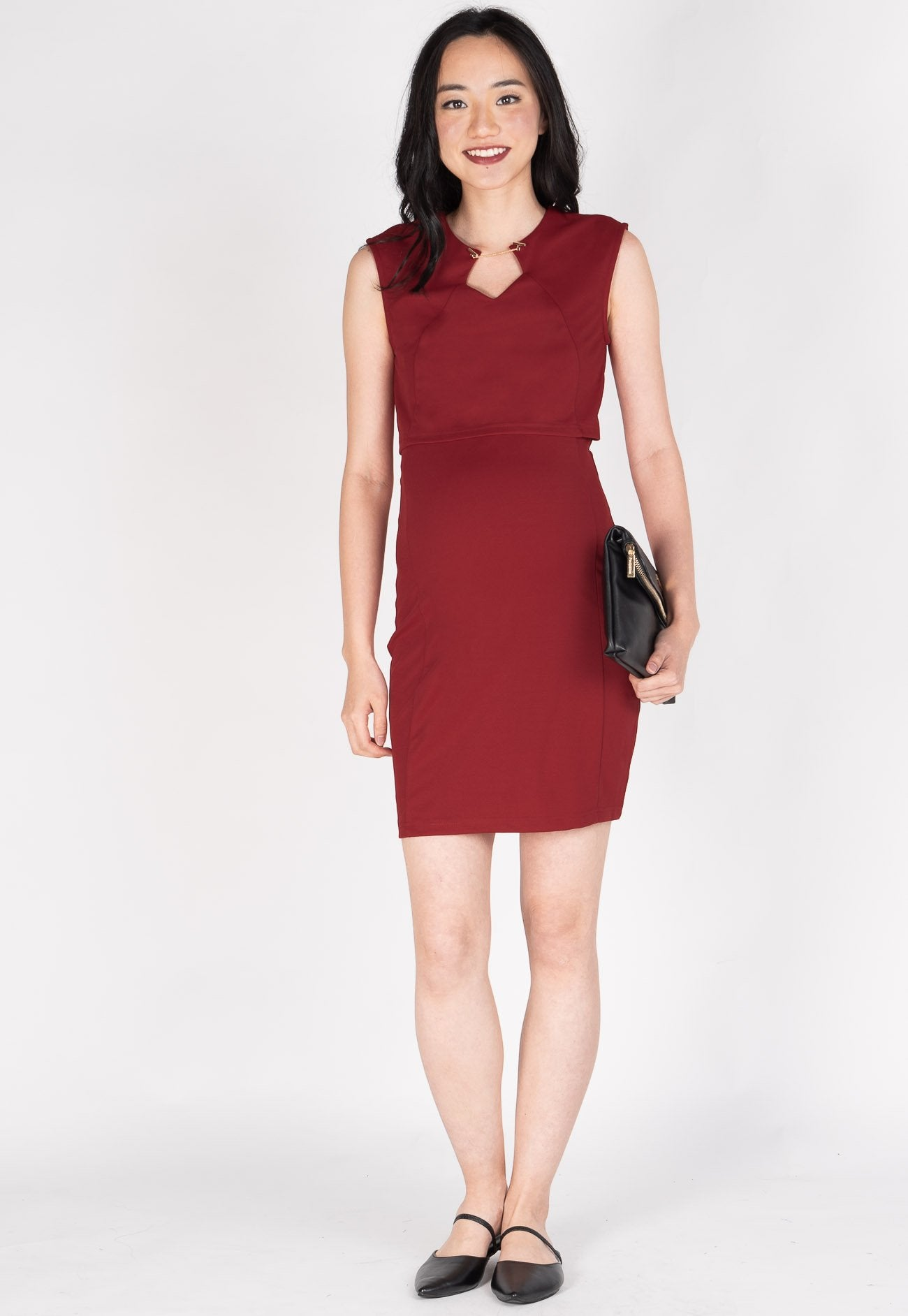 Belva Chain Nursing Dress in Red  by Jump Eat Cry - Maternity and nursing wear