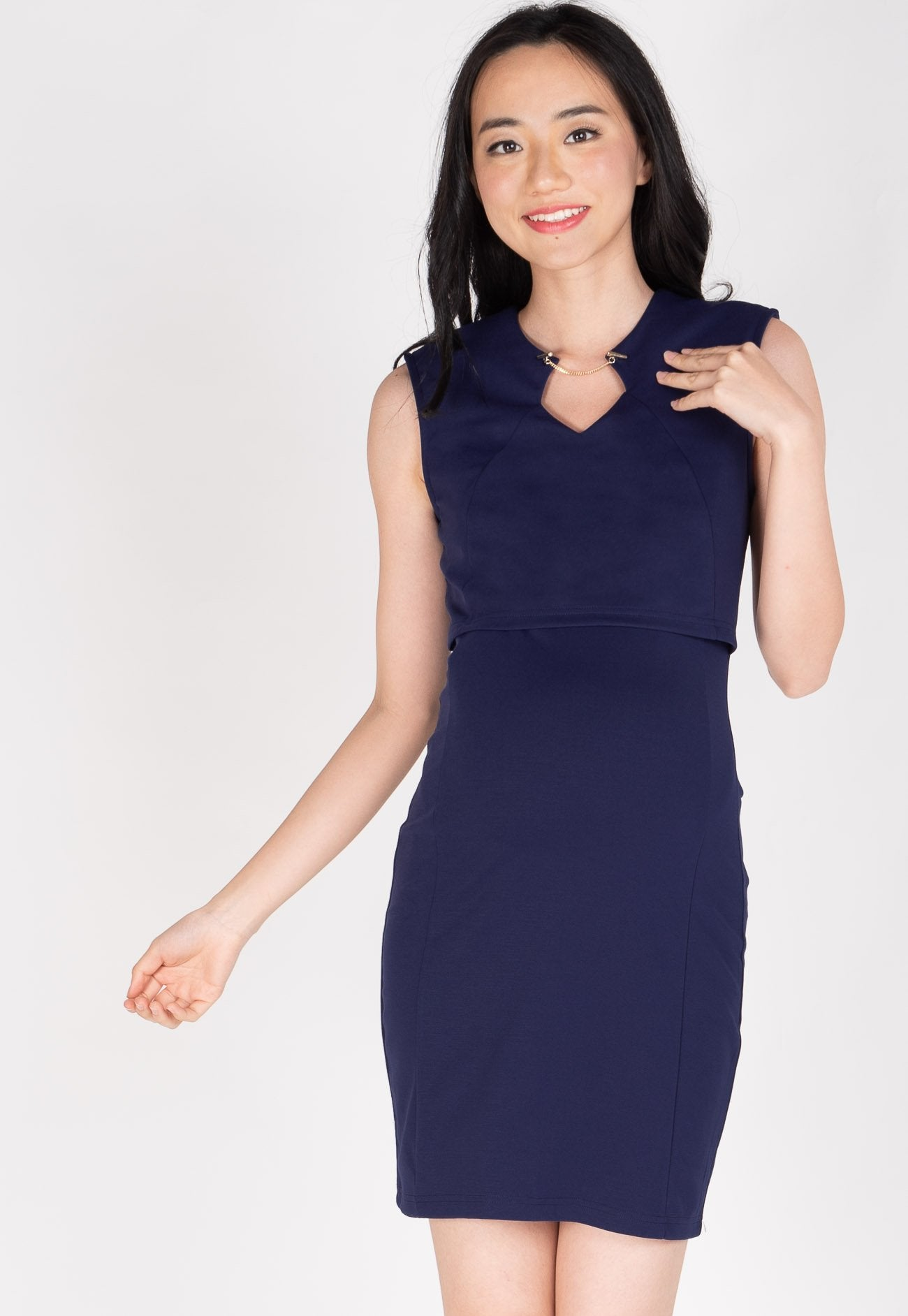 Belva Chain Nursing Dress in Navy  by Jump Eat Cry - Maternity and nursing wear