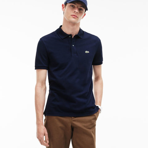 NAVY BLUE SLIM FIT PIQUÉ - Lacoste - All In Store