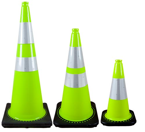 Fluorescent Green Cones w/ Reflective Collar