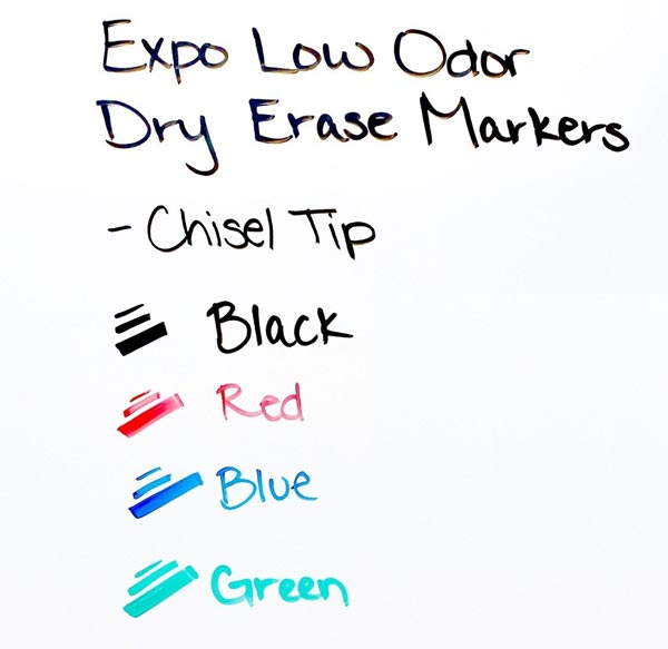 EXPO® Low-Odor Dry-Erase Markers - Set of 4