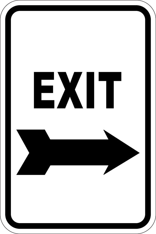 "12"" x 18"" Sign - Exit (Right Arrow) (Reflective)"