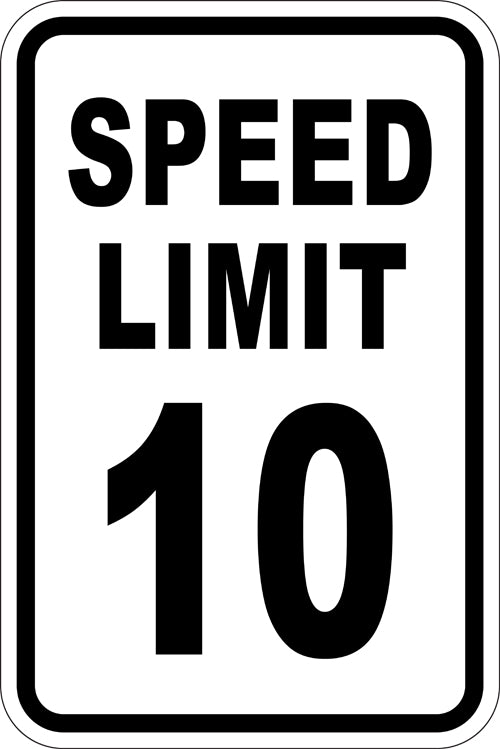 "12"" x 18"" Sign - Speed Limit 10 (Reflective)"