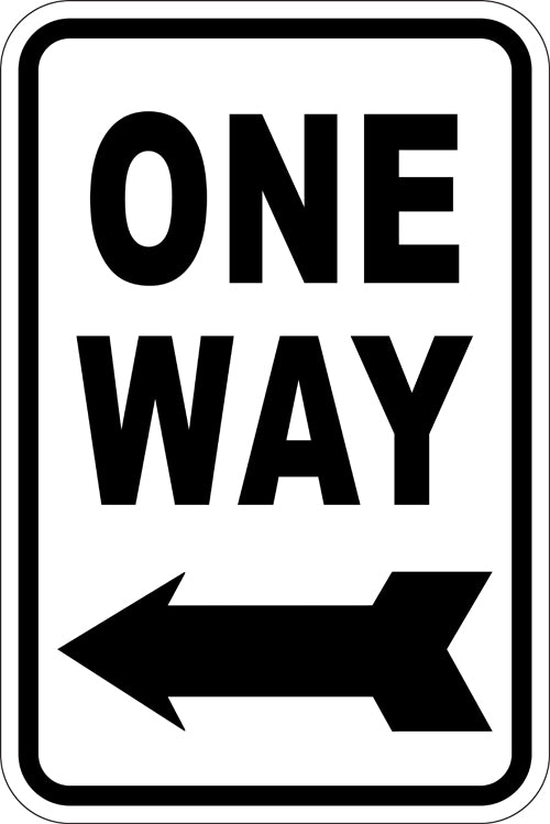 "12"" x 18"" Sign - One Way (Left Arrow) (Reflective)"