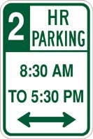 "12"" x 18"" Sign - 2 Hr Parking 8:30 to 5:30 (Reflective)"