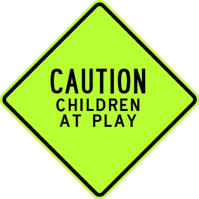 "30"" x 30"" Aluminum Sign - Caution, Children at Play (Ylw/Grn)"
