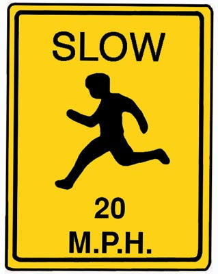 "18"" x 24"" Aluminum Sign - Slow, 20 MPH (Yellow)"