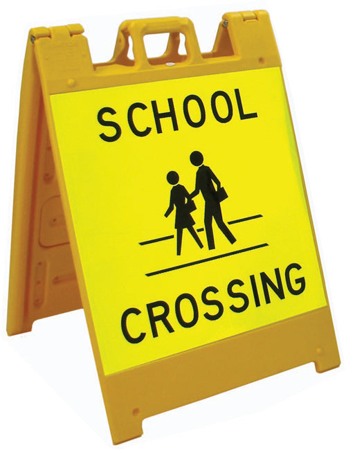 Jumbo Fold-Up Sign - School Crossing (fluorescent yellow/green)