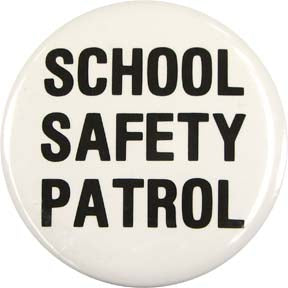 School Safety Patrol Buttons (Black on White) - Dozen