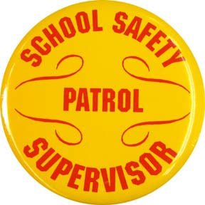 Safety Patrol Supervisor Button (Red on Yellow)