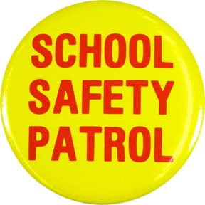 "3.5"" School Safety Patrol Button (Red on Yellow)"