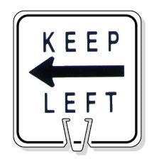 Large Snap-On Cone Sign - KEEP LEFT