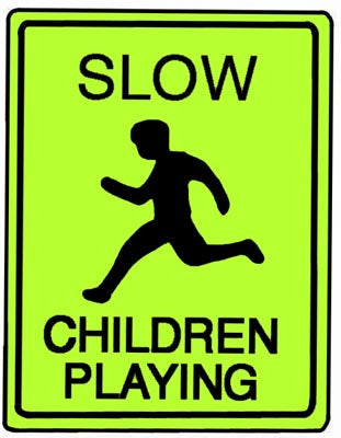"18"" x 24"" Aluminum Sign - Slow, Children Playing (Ylw/Grn)"
