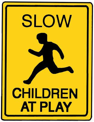 "18"" x 24"" Aluminum Sign - Slow, Children At Play (Yellow)"