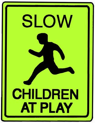"18"" x 24"" Aluminum Sign - Slow, Children At Play (Ylw/Grn)"