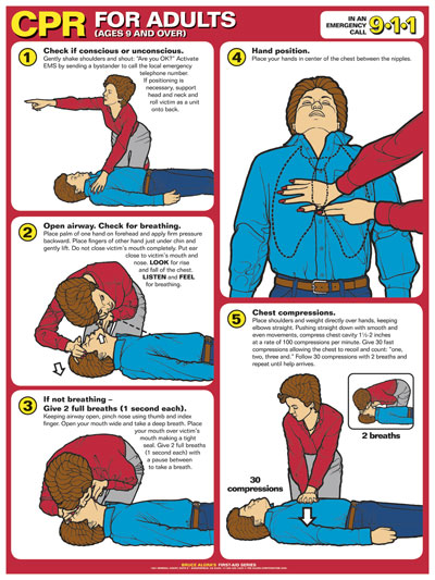 First Aid Poster - CPR for Adults