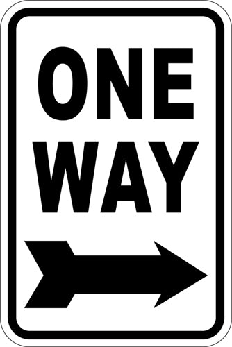 "12"" x 18"" Sign - One Way (Right Arrow)"