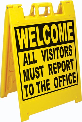 Squarecade™ 36 Fold-Up Sign - All Visitors Must Report to Office