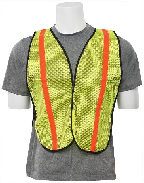 Economy Reflective Mesh Vest - Lime w/ Orange