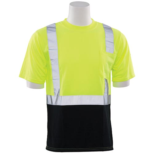 Hi-Viz Reflective Class 2 Black Bottom T-Shirt (Lime)