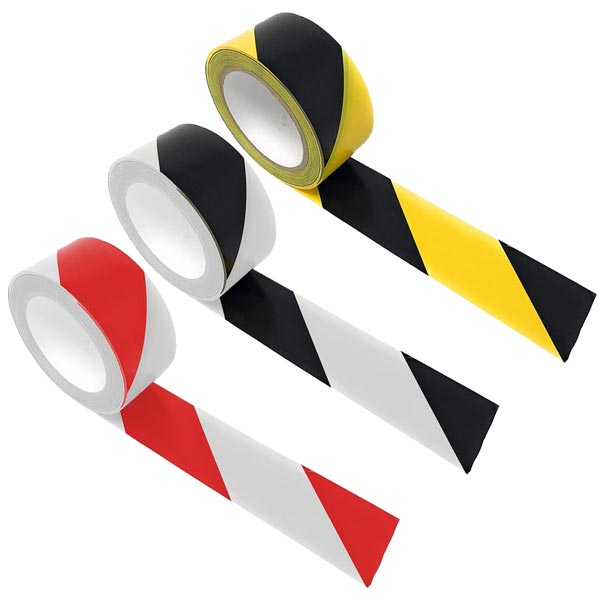 "Striped Vinyl Hazard Tape - 2"" x 36 Yards"