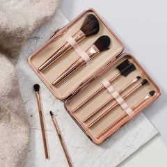 rose gold make up brush set open